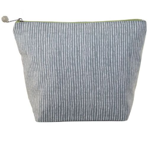 Lua Designs Large Cosmetic Bag in Grey Stripe